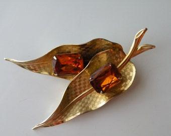 On Sale Leaf brooch, pin. Topaz rhinestone, gold tone metal.