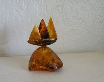 On Sale Vintage Natural Amber Sailboat figurine. 48 grams