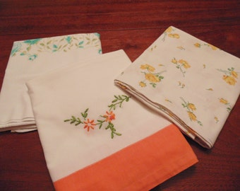Three Vintage Pillowcases, Percale and Hand Embrodered, Flowered Designs