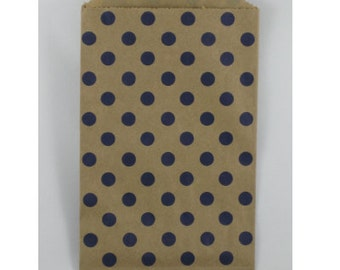 NEW- Navy Polka Dot on Kraft Middy Bitty Bags (20 bags)