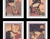 4 Blank Note Cards of Ukiyo-e Women by Yoshitoshi gccs024