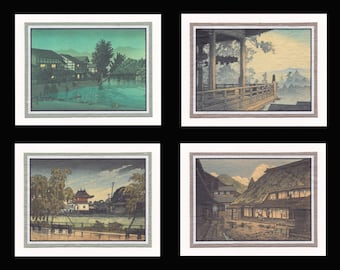 4 Blank Note Cards of Japanese Archecture by Hasui gcas011