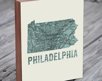 Philadelphia Map - Philadelphia Skyline - Philadelphia Art - Wood Block Art Print