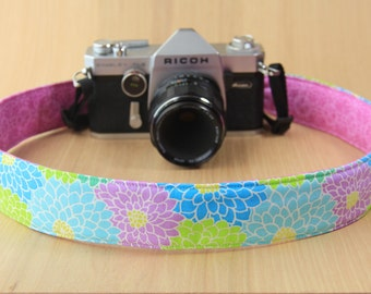 Camera Strap for DSLR - Crossbody, Reversible, Quick Release - Purple, Green and Blue Flowers - Ready to Ship