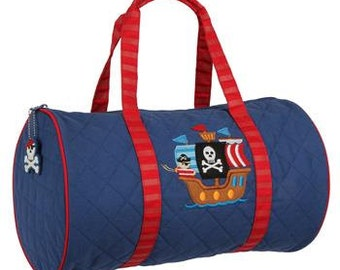 SHIPS NEXT DAY---Personalized Monogrammed Stephen Joseph Quilted Pirate Ship Duffle Bag Travel Tote Bag --Free Monogramming
