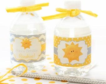 Sunshine Water Bottle Labels - Sunshine Bottle Wraps - Sunshine Party - You Are My Sunshine - Sunshine Printables - Girls 1st BIrthday