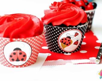 Ladybug Cupcake Wrappers / Ladybug Party / Ladybug Birthday / Ladybug Baby Shower / Ladybug Printables / INSTANT DOWNLOAD