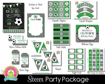 Soccer Party Package - Soccer Party Invitation - Soccer Party - Soccer Invitation - Soccer Birthday - Sports Invitation - Boys Soccer Party