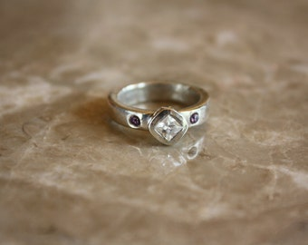 SALE- Fine Silver Ring with Princess Cut White CZ and with Lavendar CZ accents Handmade