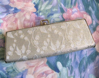 Vintage 1960s Eyewear Case Pale Gold Brocade Eye Glasses Spectacles Case