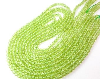 "Peridot. Shiny Apple Green. Green, Natural, Faceted Round Beads. Chartreuse Gem balls. Seed Beads. Full Strand 15"" 3 mm (PE166)"