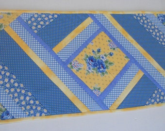 Quilted Table Runner, Quilted Table Topper, Kitchen Table Quilt, Blue and Yellow Table Runner, Cottage Shabby Chic