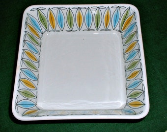 Vintage Arabia Finland Korona Pattern Bowl Square Serving Dish Scandinavian Modern Home Decor
