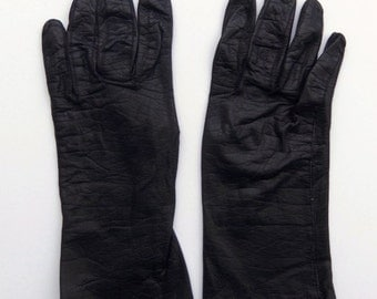 Vintage 60's Women's Leather Gloves Black Made in France Silk Lined Size 7