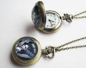 Bride of Frankenstein Pocket Watch Necklace -Classic Monster Pendant - Antique Bronze Locket