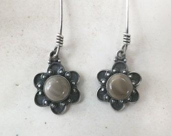 Jasper Flower Earrings in a light Tan--- Earthy Drop Earrings
