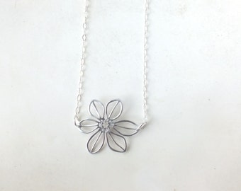 Magnolia Flower Necklace in Sterling Silver or Gold Filled