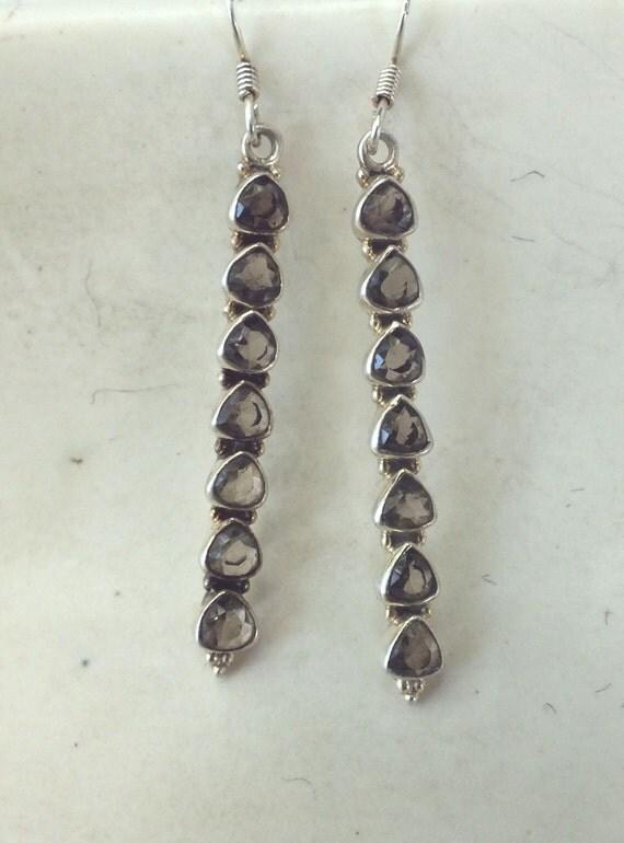 Smokey Quartz Stick Earrings----Long Dangle