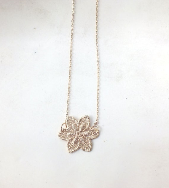 Gold Filled Lace Charm Necklace