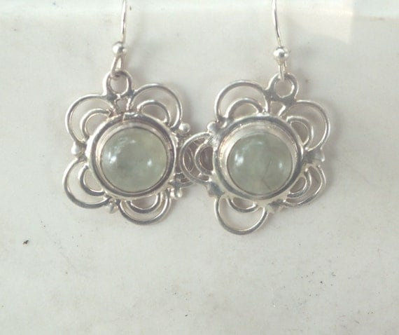 Green Tourmaline and Sterling Silver Flower Drop and Dangle Earrings Bright Silver Finish