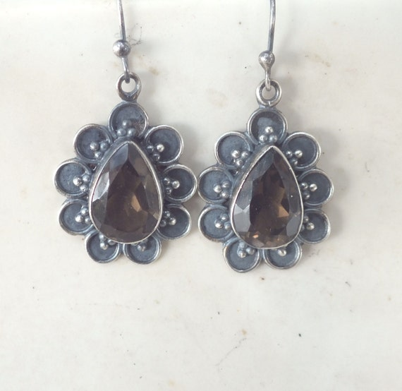 Smokey Quartz and Sterling Silver Flower Drop Earrings