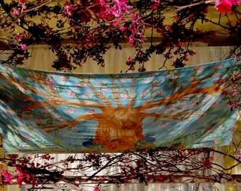 "Hand painted silk ""Peacock Tree of Life"" Wedding Chuppah"