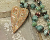 One of a Kind Owl Necklace Caramel Brown  Green Copper Turquoise Owl Jewelry