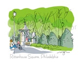 Philadelphia Rittenhouse Square fine art print 2 sizes