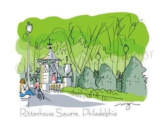 Philadelphia Rittenhouse Square fine art print 2 sizes