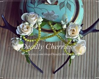 """Elegant Dolly kei Lolita  Mori girl Fantasy faun deer horns antler hair band """"White wedding"""""""