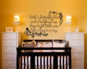 ON SALE Vinyl Wall Decal Sticker Art - With a Butterfly Kiss and a Ladybug Hug - Nursey Mural