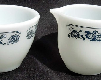 Pyrex OLD TOWN BLUE Creamer and Sugar Bowl