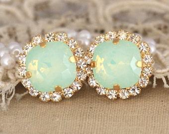 Swarovski Mint Stud Earrings,Swarovski Crystal Mint Opal Earrings,Bridesmaids Mint Earrings,Bridal Mint Opal Stud Earrings,Mint Opal Jewelry
