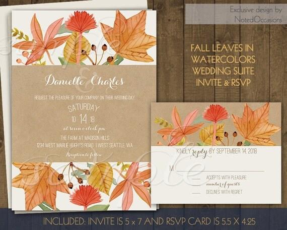 Diy Autumn Wedding Invitations: Fall Leaves Wedding Invitations Set DIY By NotedOccasions