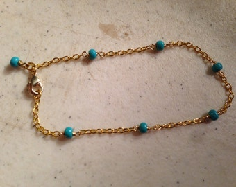 Turquoise Bracelet -  Chain Jewelry - Gold Jewellery - Dainty - Fashion - Gift