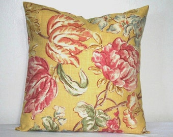 Yellow Linen Floral Decorative Pillow 18 inch Accent Pillow Throw Pillow Cushion Cover