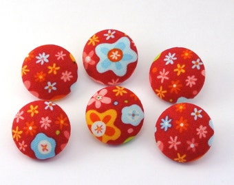 Simple Flowers Fabric Buttons / Craft Buttons / Flat Back Buttons / Push Pins / Thumbtacks Office Pretty Office / Bold / Simple 120