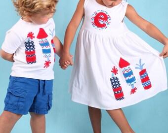 4th of July Firecracker Dress and Shirt Set - July 4th - Fireworks Dress and Shirt