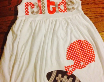 Football Dress - Football Applique Dress - You Choose Your Team Mascot and Colors