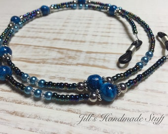 Blue Beaded Eyeglass Leash Lanyard- Eyeglass Chain Gifts- Glasses Necklace Holder Jewelry