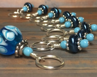 Blue Glass Stitch Markers - Blue Snag Free Beaded stitch marker set - Gift for Knitters - Tools