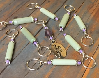Best Friend Stitch Marker Set -  Snag Free Knit Markers - Gift for Knitters- Green & Purple