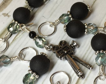 Antique Movie Camera Stitch Marker Set- Gift for Knitters- Knitting Notions