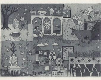 Voyage to Sangüesa – Original Aquatint Etching Intaglio Handmade Fine Art Print