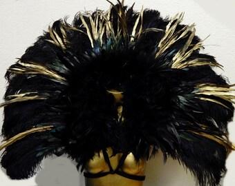 "Runway Model Black/Gold Runway Model  Feather Collar Exotic Brazilian Showgirl 39X36""  Samba Dance Costume"