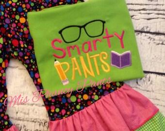 Smarty Pants Capri Set Back To School Applique Embroidery Preschool 1st 2nd