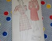 "1940s New York Pattern 543 Misses Day Dress Size 16, Bust 34"", Hip 37"", Uncut, Factory Folds"