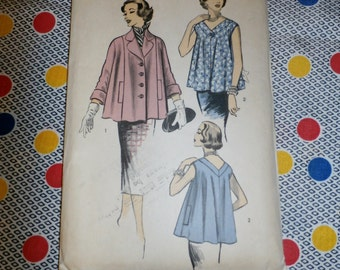 Vintage 1950s Advance Pattern 6226 for Misses Jacket and Blouse, Size 15, Bust 33""