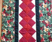 Quilted HOLIDAY TABLE RUNNER in rich Reds Greens Black and Cream  49 inches by 16 inches