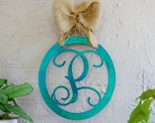 Metal Monogram Framed Initial Door Letter Sign Hanger
